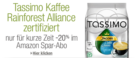 Amazon Gutschein Tassimo Kaffee Rainforest Alliance zertifiziert