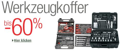 Werkzeugkoffer bis zu 60 Prozent reduziert